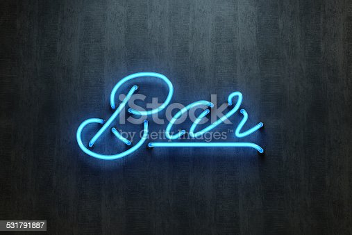 istock Bar sign neon lettering 531791887