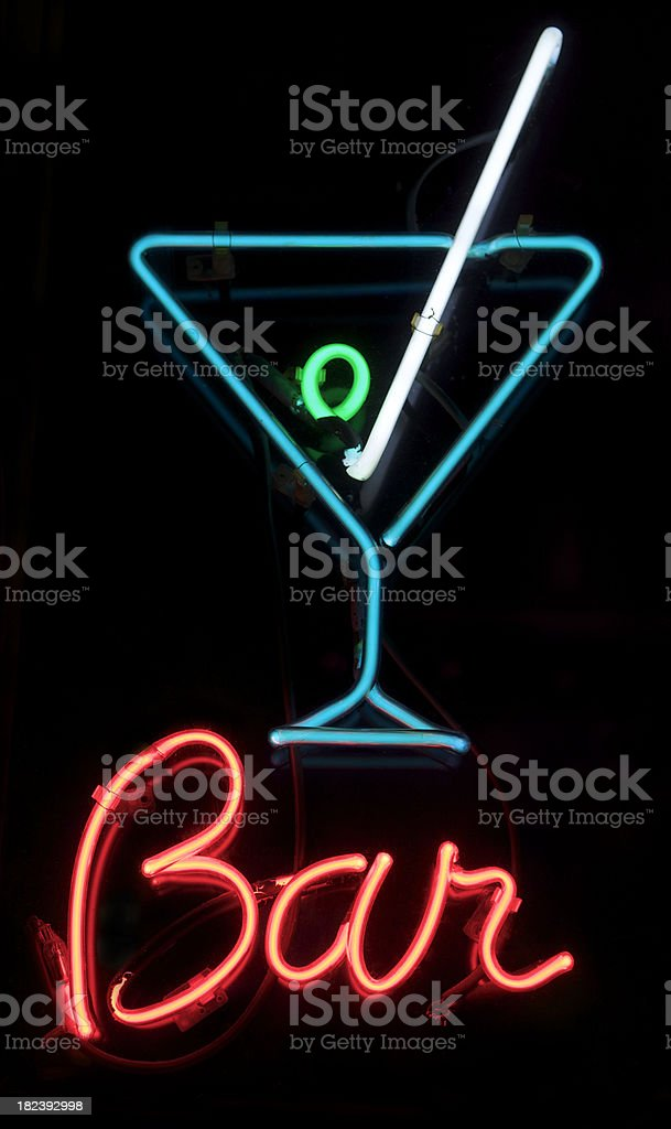 Bar Sign with Neon Martini Glass stock photo