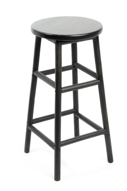 Bar stool isolated Black wooden bar stool isolated on white background stool stock pictures, royalty-free photos & images
