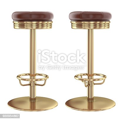 istock Bar stool, leather metal. 935954862