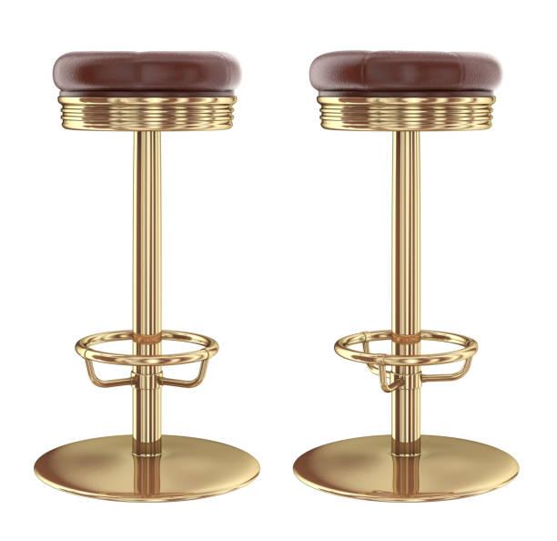 Bar stool, leather metal. stock photo