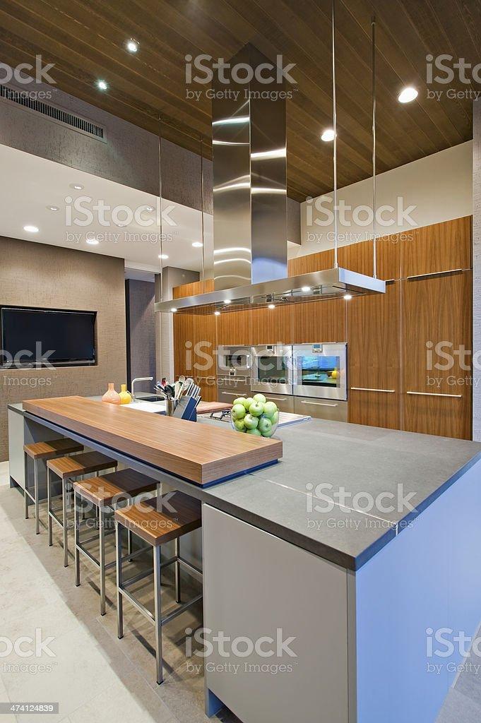 Bar Stools At Breakfast In Kitchen stock photo