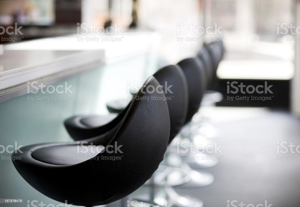 Bar Stools in Modern Downtown Restaurant, Nobody, Copy Space stock photo