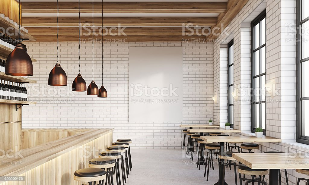Bar with poster and lamps - foto stock