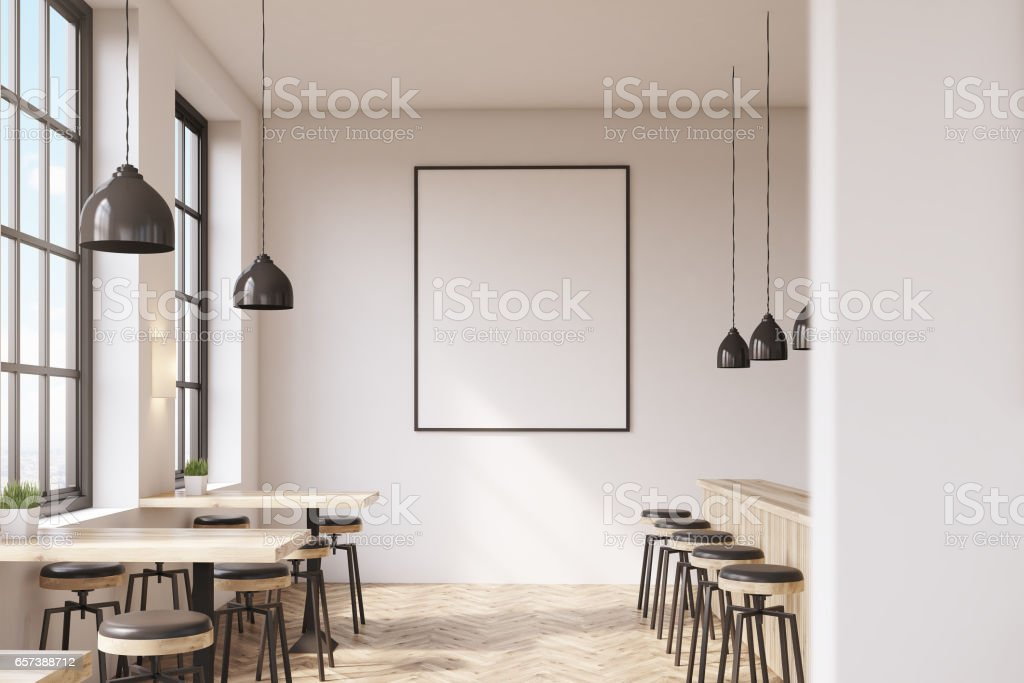 Bar with poster, wooden floor stock photo