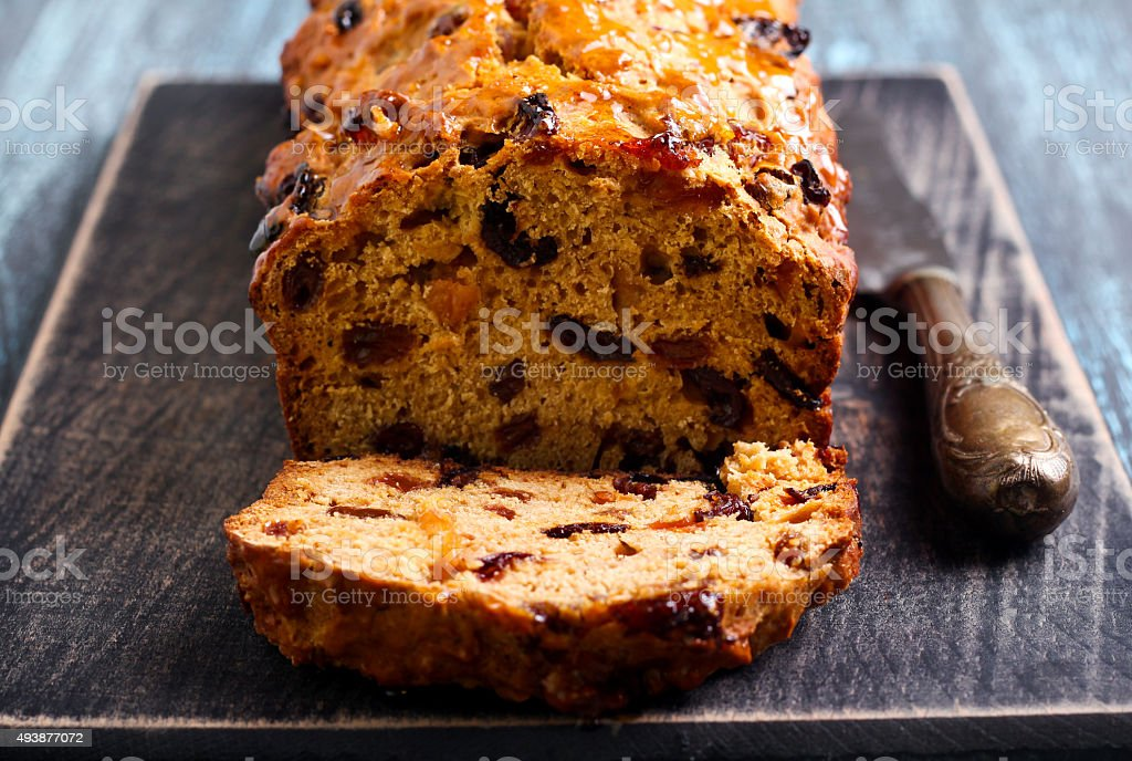 Bara brith traditional Welsh fruit teabread, royalty-free stock photo