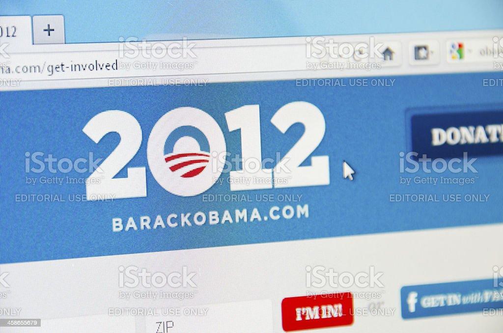 2012 Barack Obama election website royalty-free stock photo