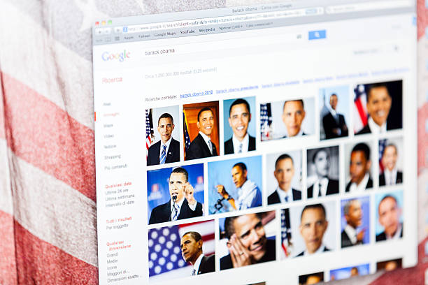 "Barack Obama Portraits on Google Images ""Udine, Italy - October 8, 2012: Close up image of Barack Obama Portraits on the search Internet engine Google Images. Obama is the President of the United States of America. Webpage viewed on the Safari web browser."" barack obama stock pictures, royalty-free photos & images"