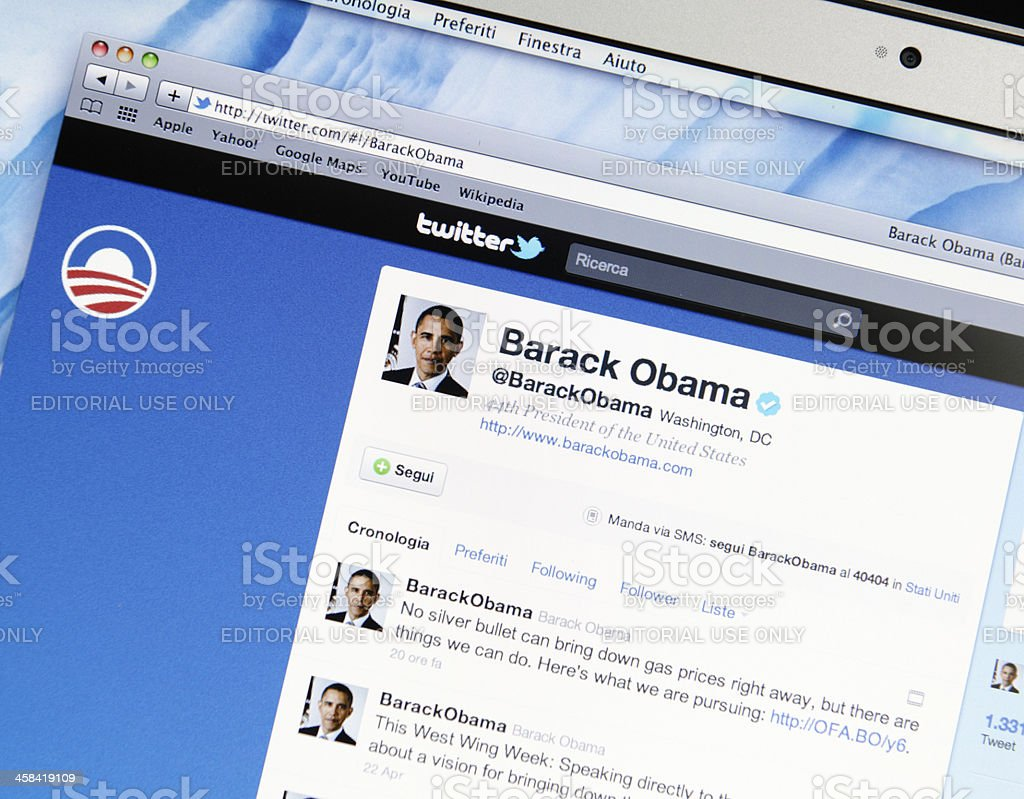Barack Obama twitter fan page royalty-free stock photo