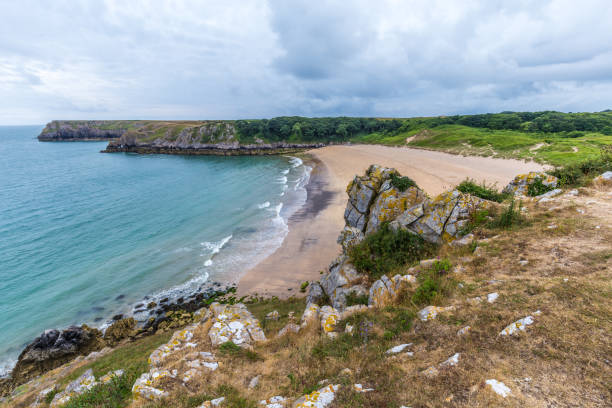 Barafundle bay on the Pembrokeshire coastline in Wales, UK stock photo