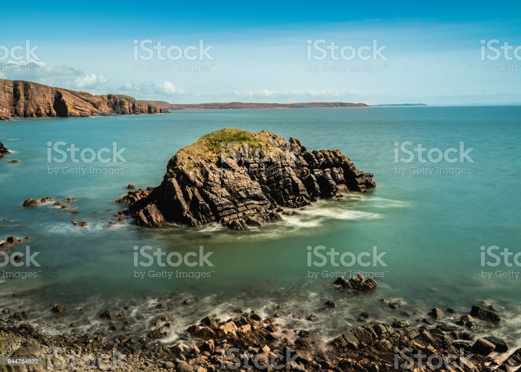 Barafundle bay seascape image stock photo