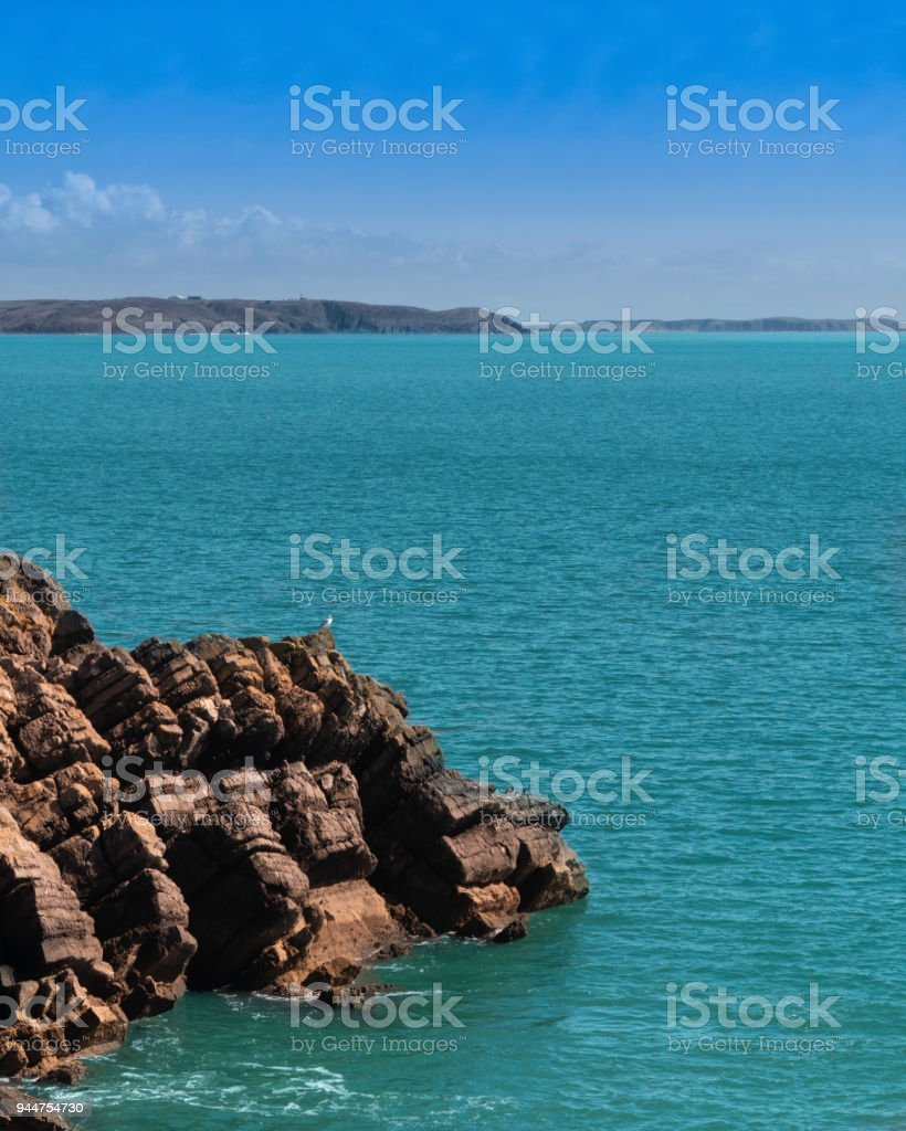 Barafundle bay seascape with seagull on a rock stock photo