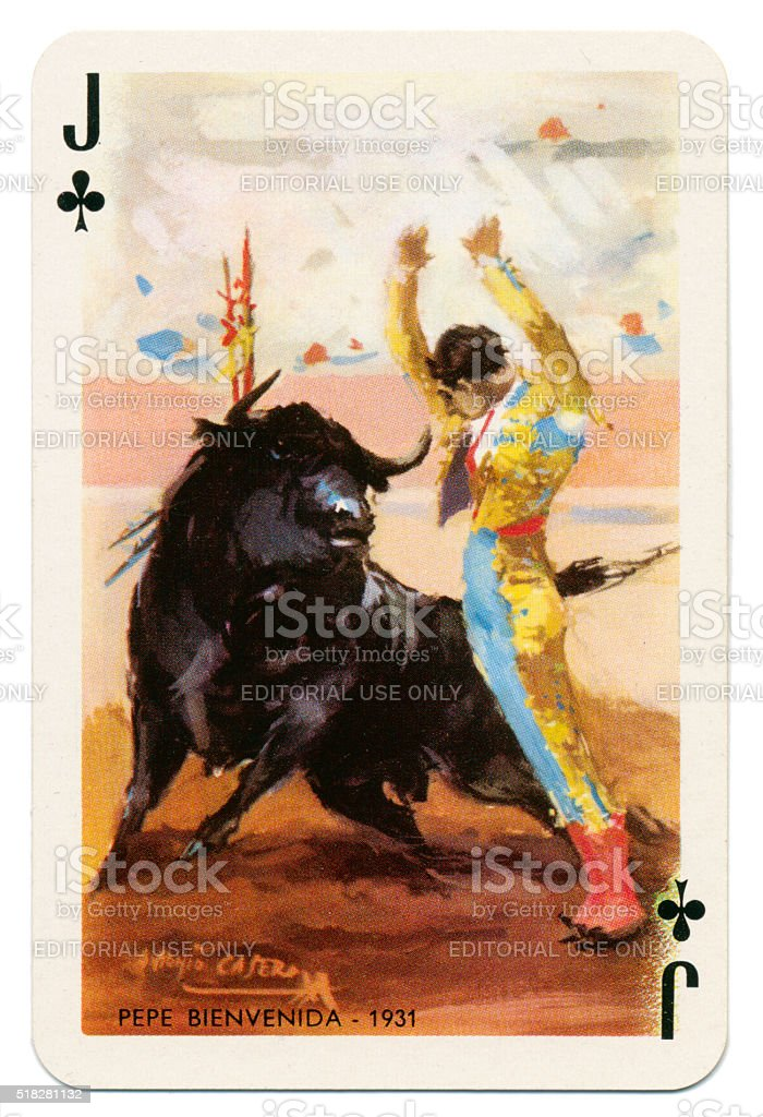 Baraja Taurina bullfighter Jack of Clubs 1965 stock photo