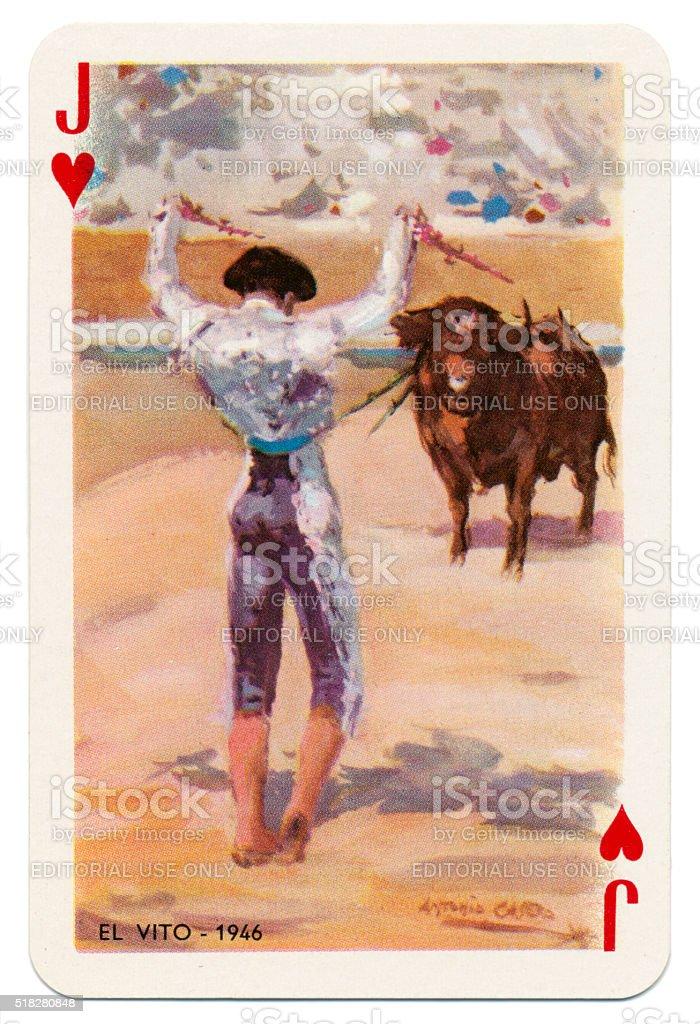 Baraja Taurina bullfighter Jack of Hearts 1965 stock photo