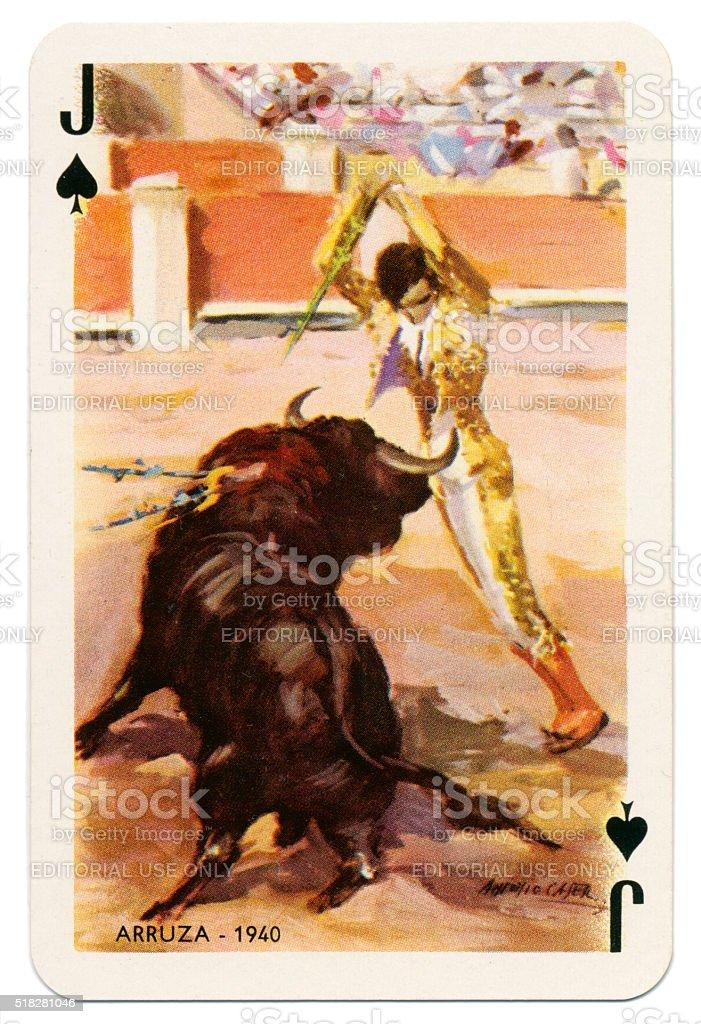 Baraja Taurina bullfighter Jack of Spades 1965 stock photo