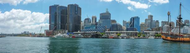 barangaroo and darling harbour sydney australia - barangaroo stock photos and pictures