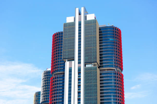 barangaroo skyscrapers, sky background with copy space - barangaroo stock photos and pictures