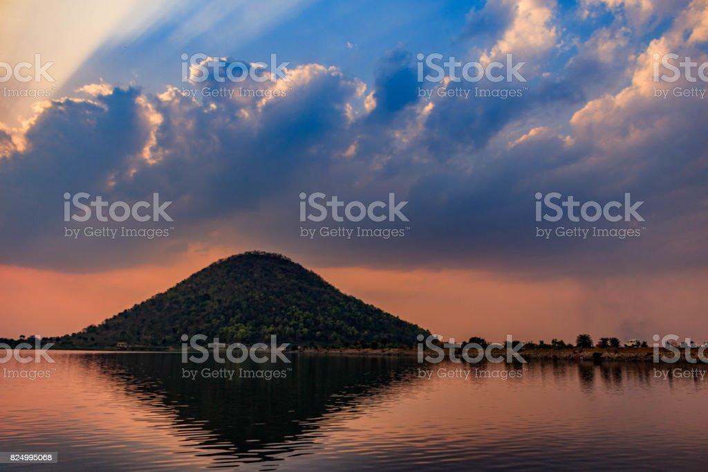 Baranti Lake at dusk stock photo