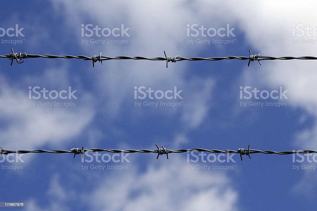 Barb Wire Against the Blue Sky royalty-free stock photo
