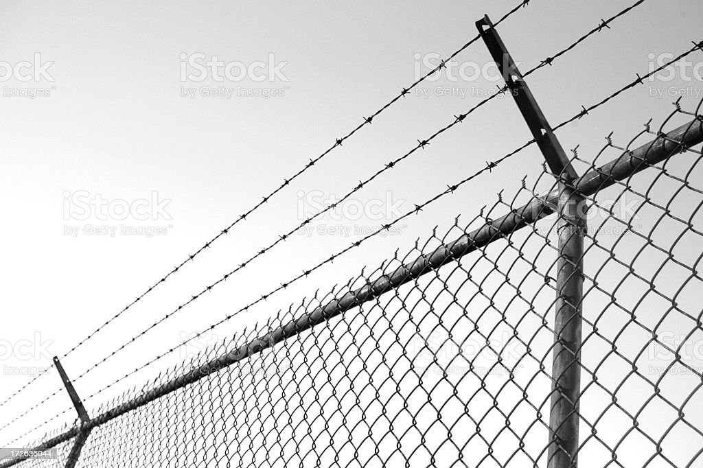 barb wire fence royalty-free stock photo