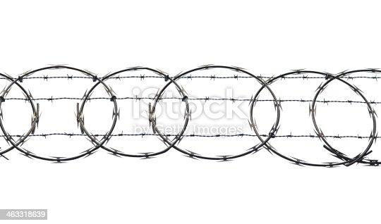 Razor wire on a white background