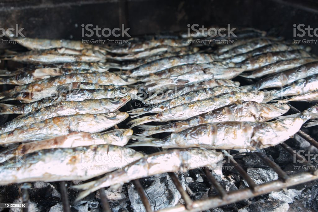 Barbacue fish. Closeup view on traditional spanish dish. Typical in Costa del Sol, Malaga, Spain. stock photo
