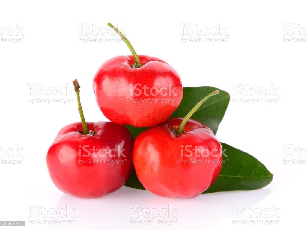 Barbados cherry on white background stock photo