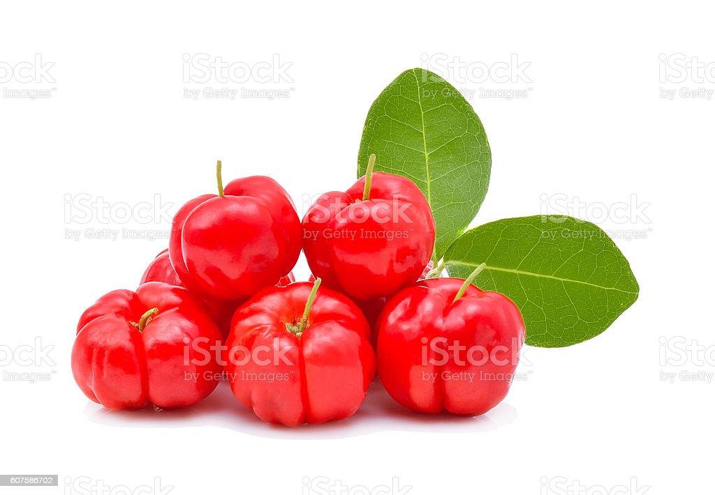 Barbados cherry,Ripe thai cherry on white background stock photo