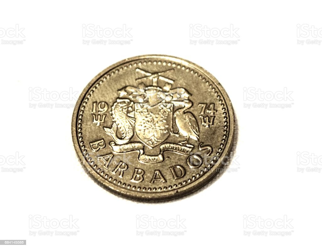 Barbados five cents coin close up on white background royaltyfri bildbanksbilder