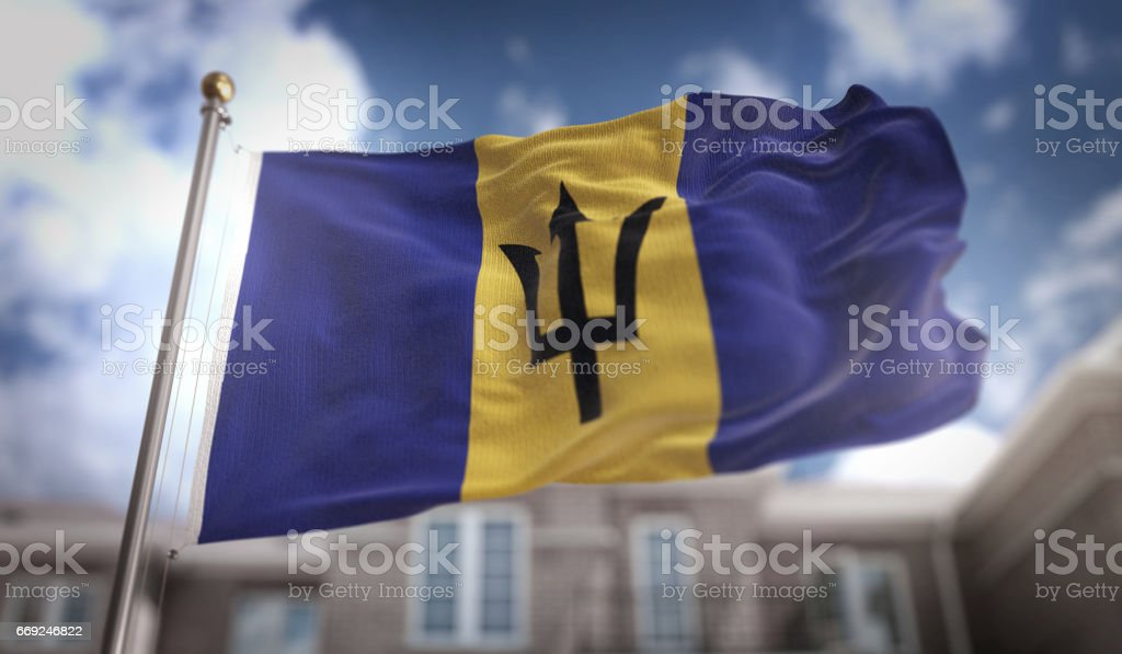 Barbados Flag 3D Rendering on Blue Sky Building Background stock photo