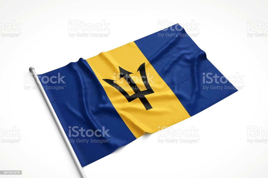Barbados Flag is Laying on a White Surface stock photo