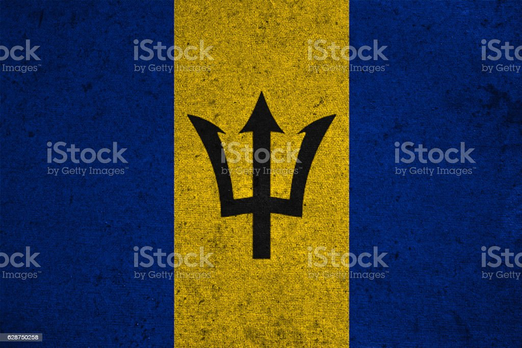 barbados flag on an old grunge background stock photo