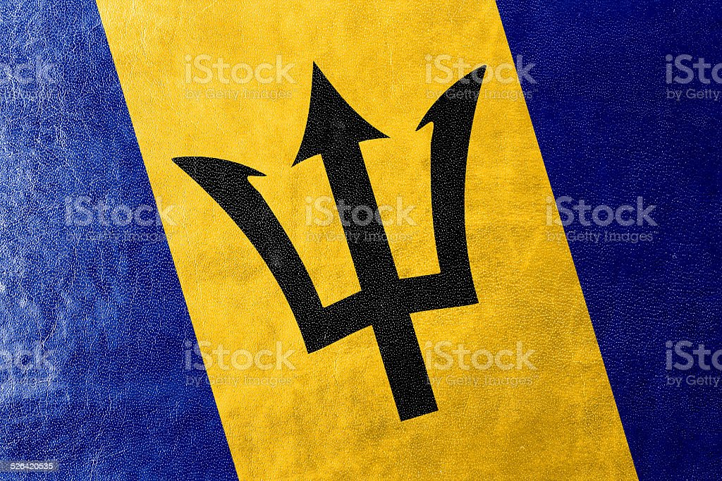 Barbados Flag painted on leather texture stock photo