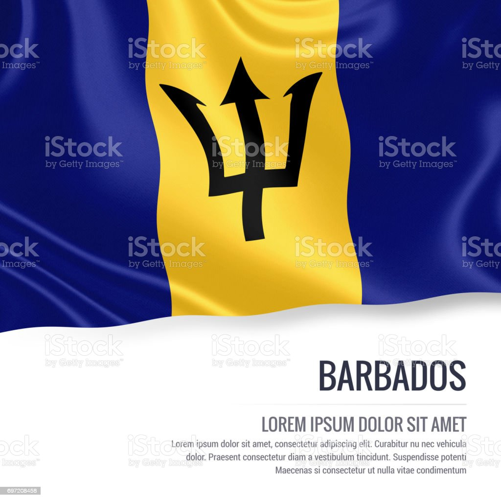 Barbados flag. Silky flag of Barbados waving on an isolated white background with the white text area for your advert message. 3D rendering. stock photo