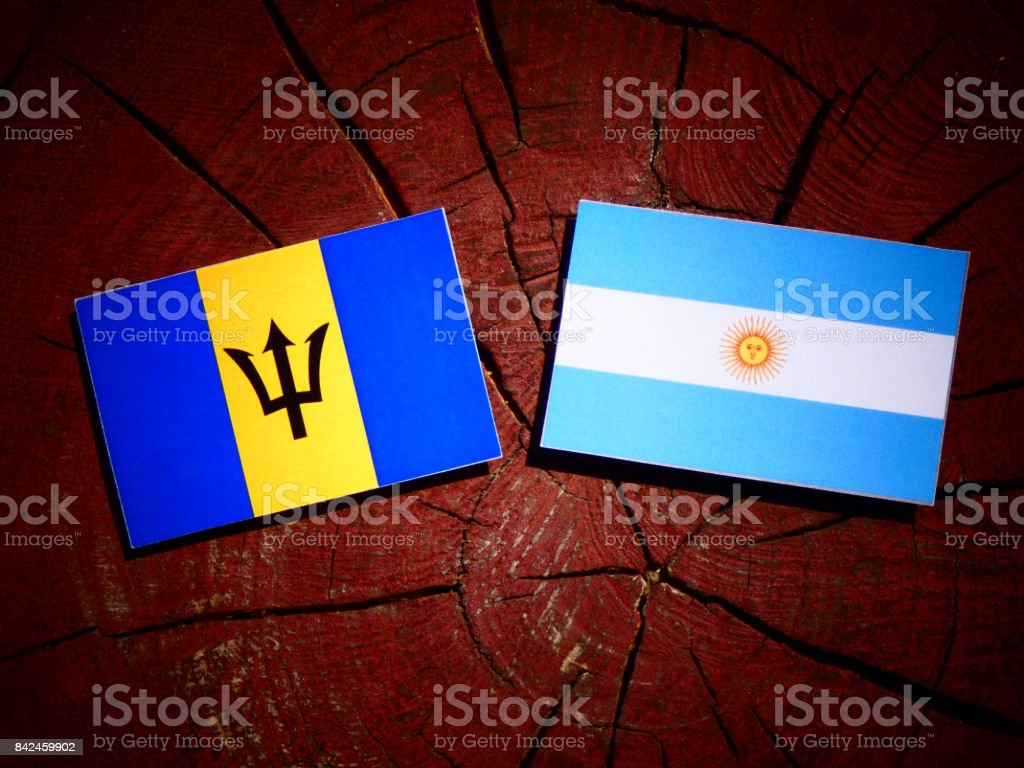 Barbados flag with Argentinian flag on a tree stump isolated stock photo