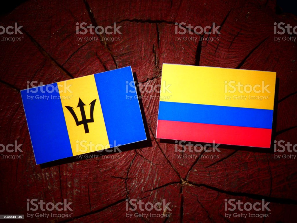 Barbados flag with Colombian flag on a tree stump isolated stock photo