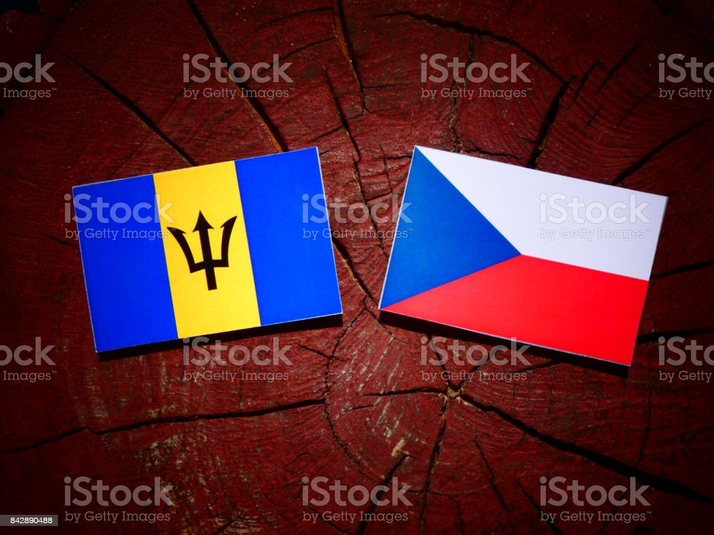 Barbados flag with Czech flag on a tree stump isolated stock photo