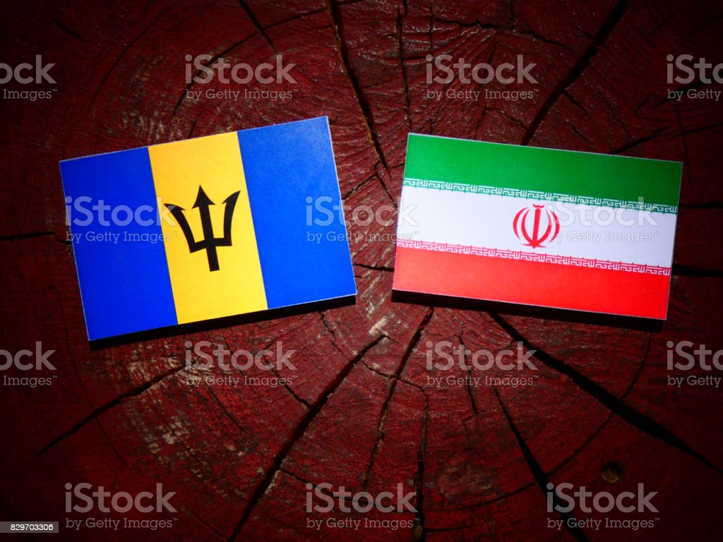 Barbados flag with Iranian flag on a tree stump isolated stock photo
