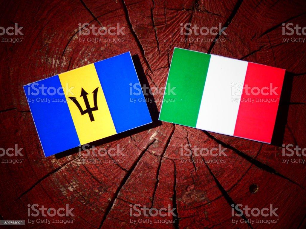 Barbados flag with Italian flag on a tree stump isolated stock photo