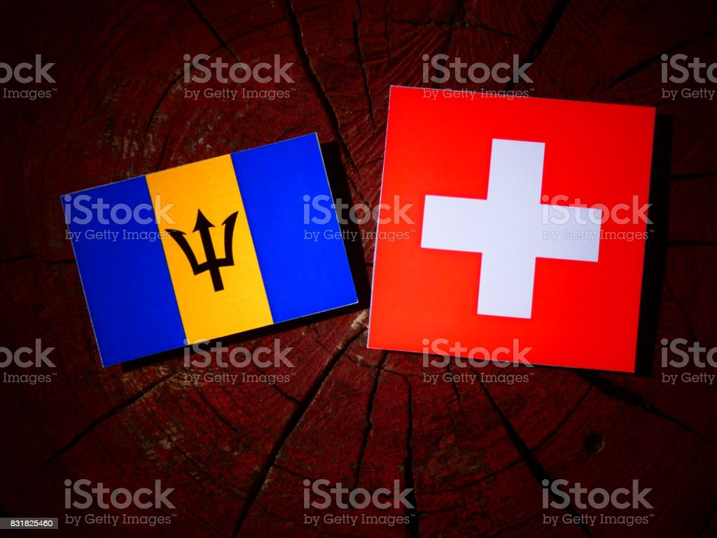 Barbados flag with Swiss flag on a tree stump isolated stock photo