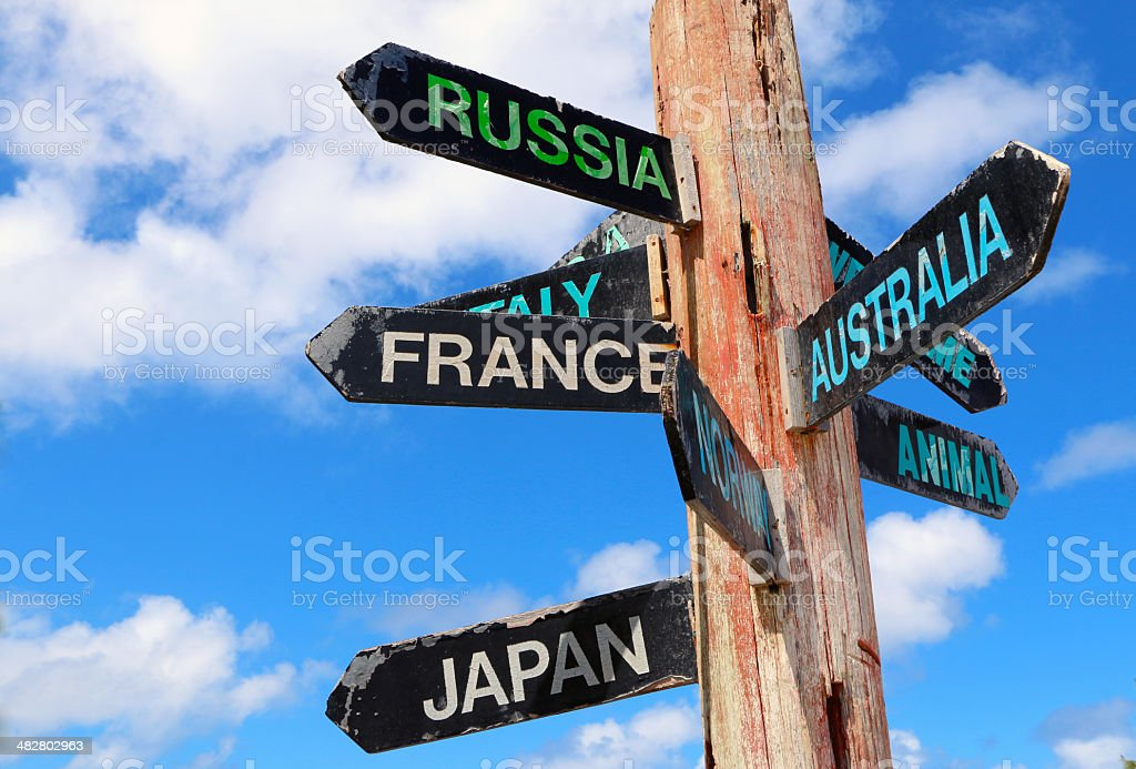 Barbados, North point, direction guidepost. stock photo