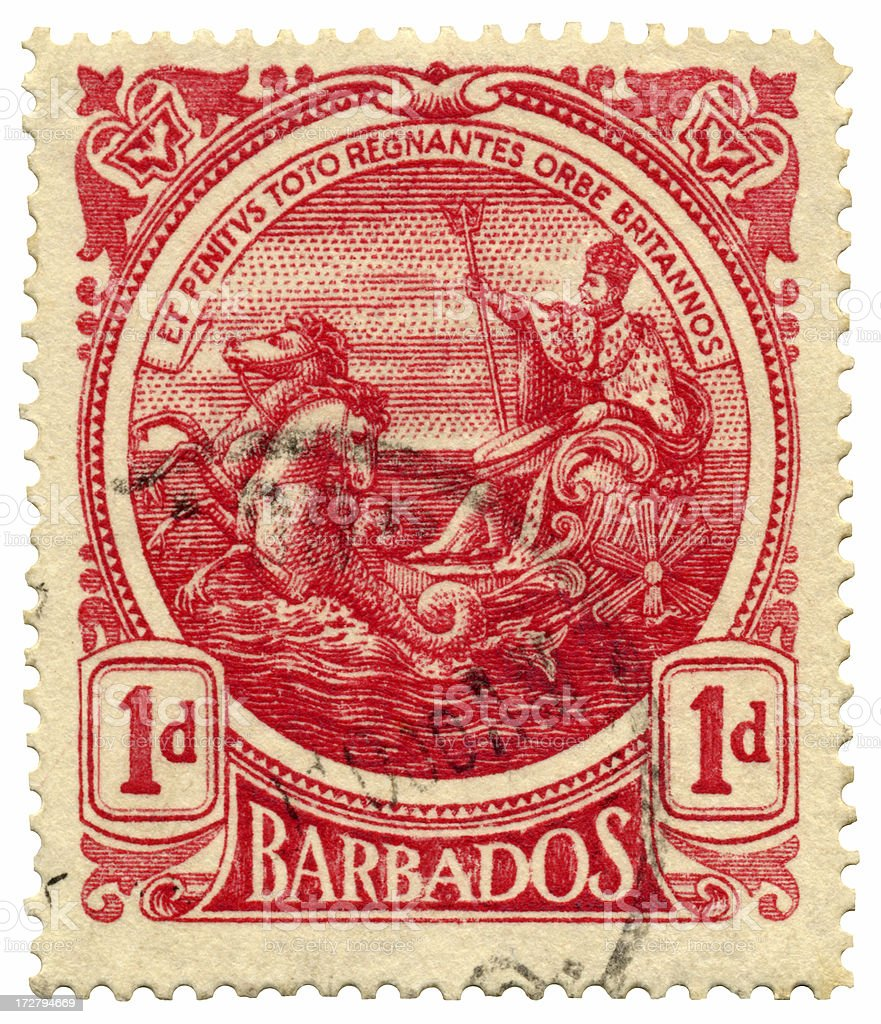 Barbados Postage Stamp with Seal of the Colony stock photo