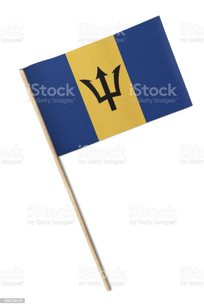 Barbados Small flag isolated on a white background stock photo