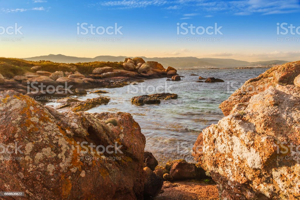 Barbafeita Cape in Arousa Island royalty-free stock photo