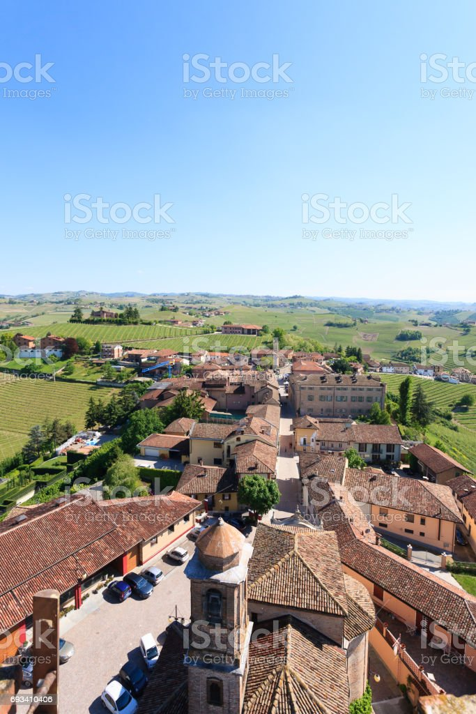 Barbaresco town aerial view, Langhe, Italy stock photo