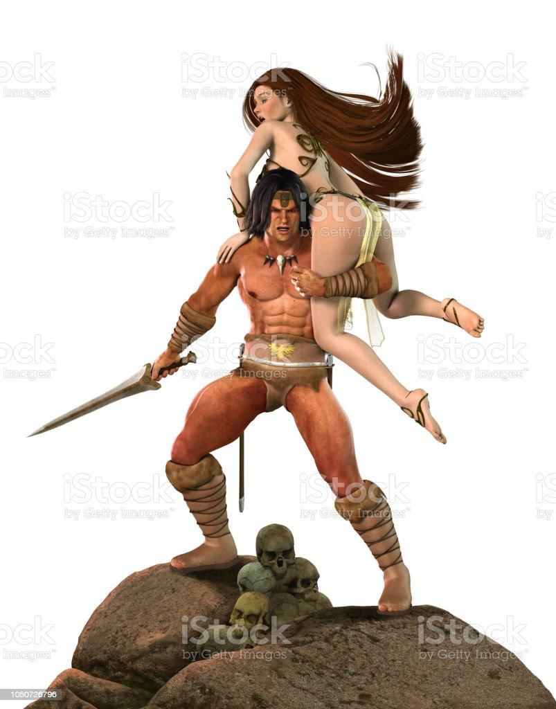 Barbarian Fantasy Warrior Fights for Princess stock photo