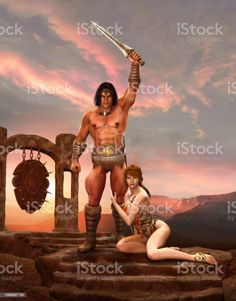 Barbarian Fantasy Warrior Poses Slave Girl stock photo
