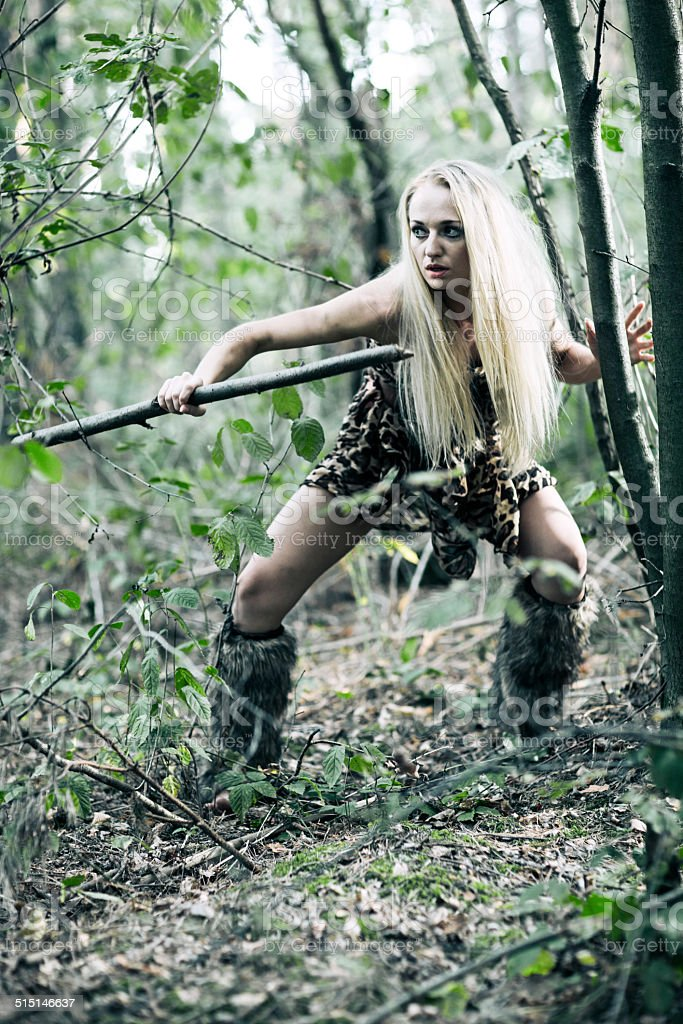 Barbarian Woman In Forest stock photo