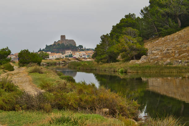 Barbarousse Castle, Gruissan in Southern France stock photo