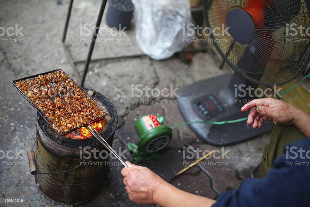 Barbecue at the roadside, grilling pork royalty-free stock photo